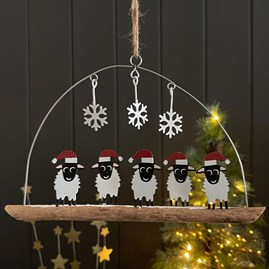 Five Sheep with Santa Hats Hanging Decoration