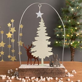White Tree And Deer Christmas Decoration