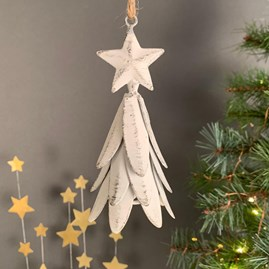 Star Christmas Tree White Hanging Decoration