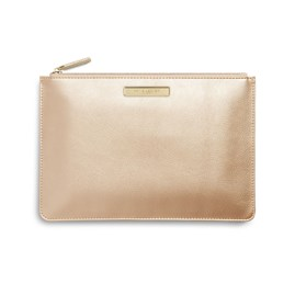 Katie Loxton Personalised Pebble Perfect Pouch In Metallic Champagne