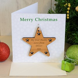 Personalised Engraved Christmas Star Card