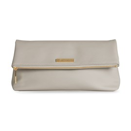 Katie Loxton Personalised Alise Soft Pebble Fold Over Clutch In Stone