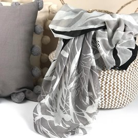 Bamboo Leaf Scarf In Grey