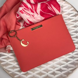 Katie Loxton Personalised Pebble Pouch In Coral