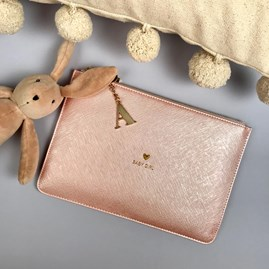 Katie Loxton Personalised 'Baby Girl' Metallic Pink Perfect Pouch