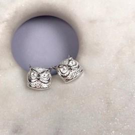 Solid Silver Owl Stud Earrings