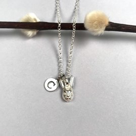 Personalised Solid Silver Hare Necklace