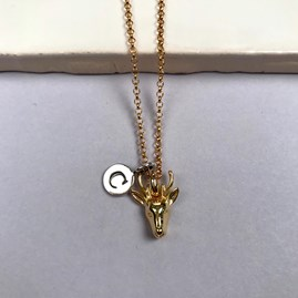 Personalised 18ct Gold Stag Necklace
