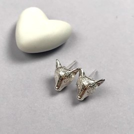 Solid Silver Fox Stud Earrings
