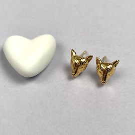 18ct Gold Fox Stud Earrings