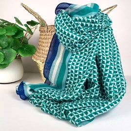 Little Squares Scarf In Emerald Green
