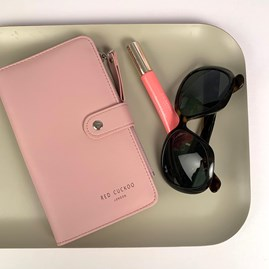 Purse And Document Holder In Dusky Pink