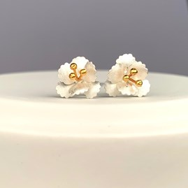 Solid Silver Cherry Blossom Stud Earrings