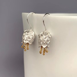 Solid Silver And 18ct Gold Thistle Earrings