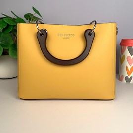 Tote Bag With Wooden Handle In Mustard