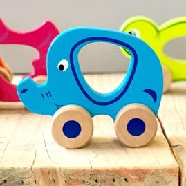 Wooden Elephant Push Along Toy