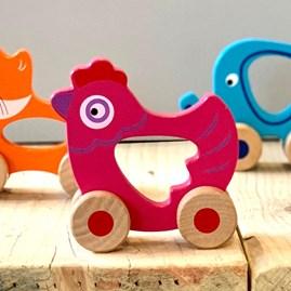 Wooden Hen Push Along Toy