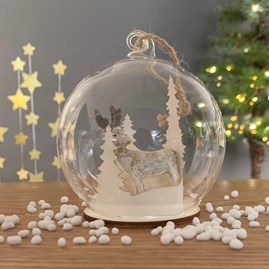 Standing Stag In A Snow Globe