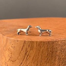 Solid Silver Dachshund Dog Stud Earrings