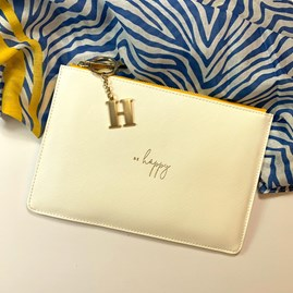 Katie Loxton Personalised 'Be Happy' Colour Pop Perfect Pouch In White