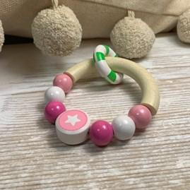 Pink Elephant Half Ring Rattle