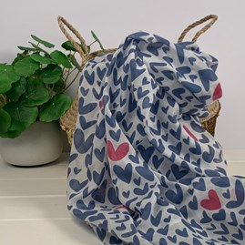 Denim Blue Scarf With Hearts