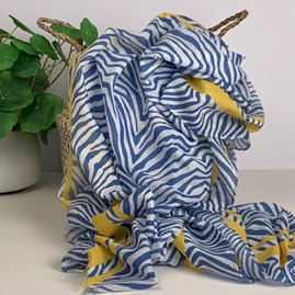 Blue And Yellow Zebra Print Scarf