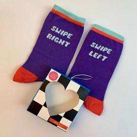 Swipe Left Swipe Right Socks In A Gift Box