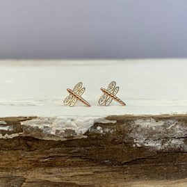 Dragonfly Stud Earrings In Rose Gold And Sterling Silver