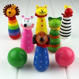 Hand Painted Wooden Animal Skittles