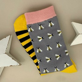 Bamboo Busy Bees Socks in Grey