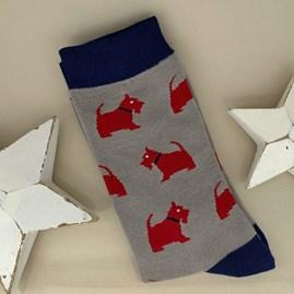 Men's Bamboo Westie Pup Socks in Grey