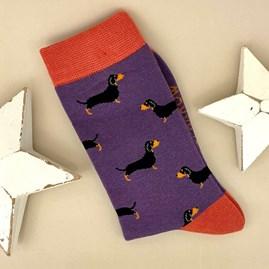 Bamboo Little Sausage Dogs Socks in Dusky Purple