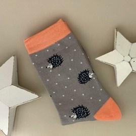 Bamboo Sleepy Hedgehogs Socks in Grey