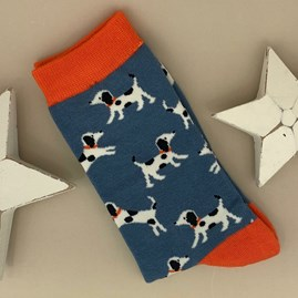 Men's Bamboo Little Dalmations Socks in Blue