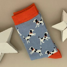 Bamboo Little Dalmations Socks in Powder Blue