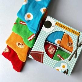 Unisex Breakfast Socks Gift Set of 4