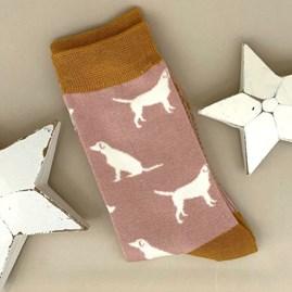 Bamboo Labrador Socks in Dusky Pink