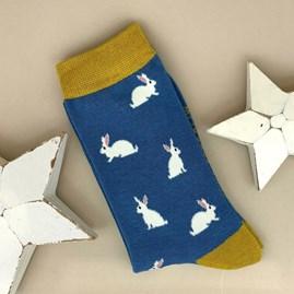 Bamboo Rabbit Socks in Blue