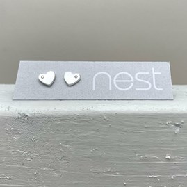 Brushed Silver Heart With Stone Stud Earrings