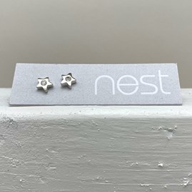 Silver Star And Stone Stud Earrings