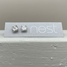 Square Stone Stud Earrings
