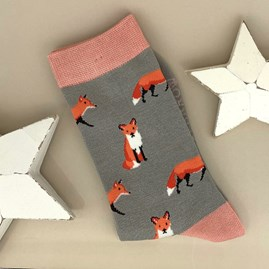 Bamboo Fox Socks in Grey