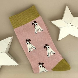 Bamboo Fox Terrier Socks in Dusky Pink