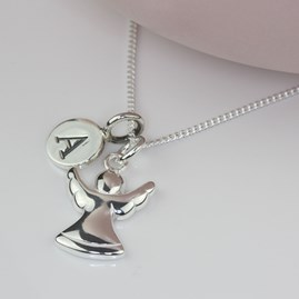 Personalised Guardian Angel Silver Charm Necklace