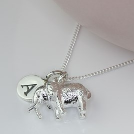 Personalised Necklace With Silver Elephant Charm