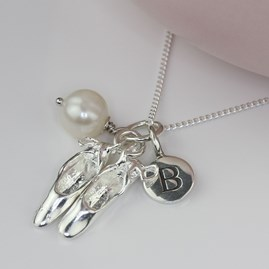 Personalised Ballet Shoe And Freshwater Pearl Necklace