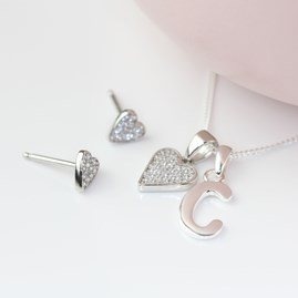 Personalised Children's Heart Necklace And Earrings Set