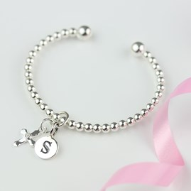 Personalised Children's Silver Christening Bead Bangle