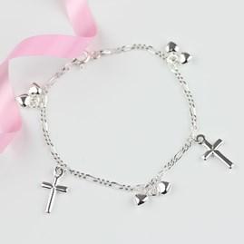 Children's Christening Cross And Heart Bracelet